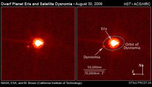 O Telescópio Espacial Hubble e o Observatório Keck obteve imagens do movimento de Dysnomia a partir do qual o astrônomo Mike Brown (Caltech) calculou precisamente que Eris possui 27% mais massa que Plutão.