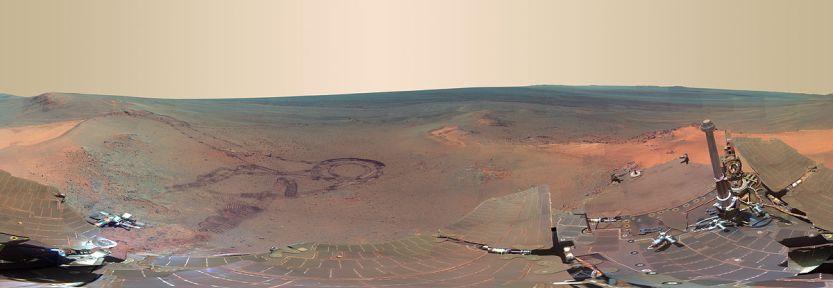Panorama de Marte visto pelo robô Opportunity.