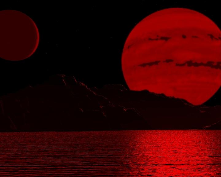 Concepção de um planeta iluminado por uma anã marrom