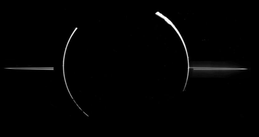 Mosaico fotográfico tomado pela sonda Galileu (quando esta esteve na sombra do planeta) mostrando o tênue sistema de anéis de Júpiter.
