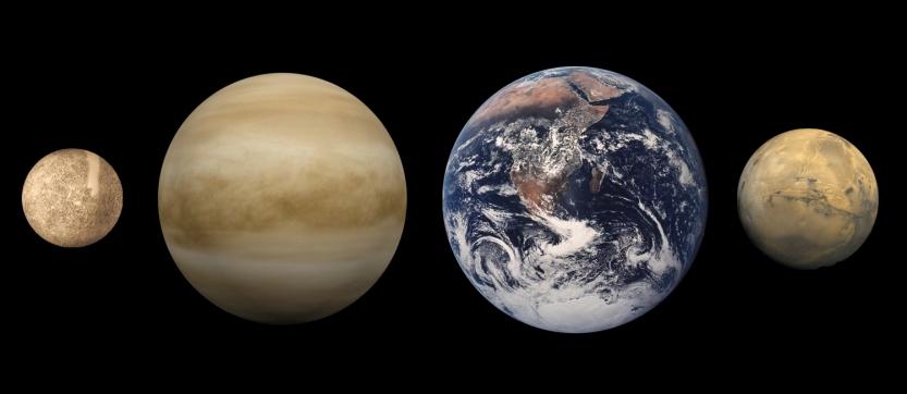 Comparação do tamanho dos planetas telúricos, da esquerda para a direita: Mercúrio, Vênus, Terra e Marte.