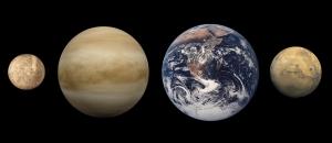 Comparação de tamanho entre os planetas terrestres: Mercúrio, Vénus, Terra e Marte.