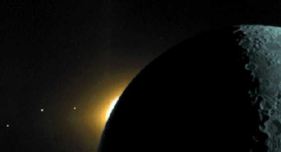 Foto tirada pela espaçonave Clementina, mostrando a Lua, a coroa do Sol nascendo atrás da Lua, e os planetas Saturno, Marte e Mercúrio. O plano da eclíptica é o plano imaginário contendo a órbita da Terra em volta do Sol e está inclinado 23,5° em relação ao equador. Durante o ano, a posição aparente do Sol está neste plano, assim como todos os planetas estão próximos deste plano, pois foram formados no disco proto-planetário.
