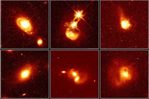 Imagens obtidas por John Norris Bahcall (1934-2005) e Mike Disney com o Telescópio Espacial Hubble, da NASA, mostrando que os quasares ocorrem tanto em galáxias normais quanto em galáxias perturbadas. Por exemplo, PG 0052+251 (canto esquerdo superior), a 1,4 bilhões de anos-luz da Terra, reside em uma galáxia espiral normal; PHL 909, a 1,5 bilhões de anos-luz (canto inferior esquerdo), em uma galáxia elíptica; IRAS04505-2958, PG 1212+008, Q0316-346 e IRAS13218+0552, em vários tipos de galáxias em interação.