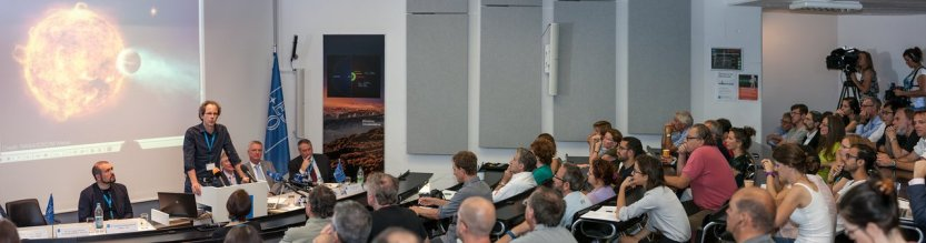 On 24 August 2016 at 13:00 CEST, ESO hosted a press conference at its Headquarters in Garching, near Munich, Germany. In this image,Prof. Dr.Ansgar Reiners speaks.
